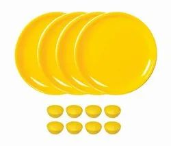 Utensza Plastic,Set of 12 Pcs, 12 Plate & Bowl Set, Unbreakable,Microwave Safe,Round Shape (Yellow)