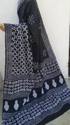 Black Mul Cotton Sarees With Block Print, 6.5 Meter With Blouse Piece