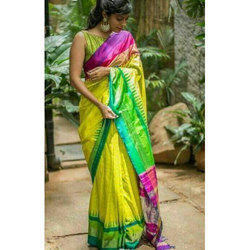 Yellow, Green And Pink Wedding Wear Printed Saree