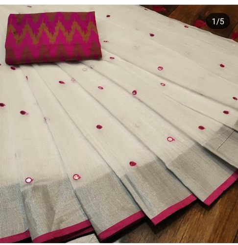 Linen Saree With Mirror Pallu