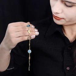 Blue Topaz Bezel Gemstone Minimal Bracelet