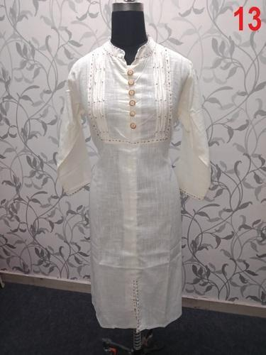 Cotton Plain Straight Fancy Kurti