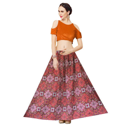 d47dbdb3c2 Banglori Satin Orange Printed Fancy Crop Top Lehenga For Girls, Rs ...