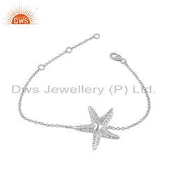 Star Fish Design 925 Fine Silver Chain Bracelet