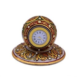 Marble Table Clock Meenakari 4 inch