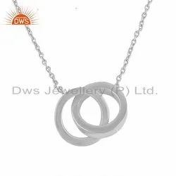 White Rhodium Plated Connected Circle Plain Silver Chain Pendants