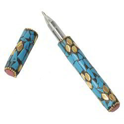 SNG White Metal Blue Ink Pen With Stone Work
