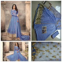 Printed Semi-Stitched Heavy Net With Embroidery Work Salwar Suit, Dry clean