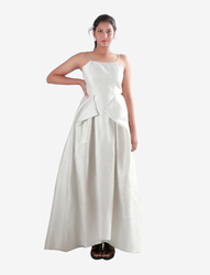 Dull White Cut Out Pleats High Low Gown