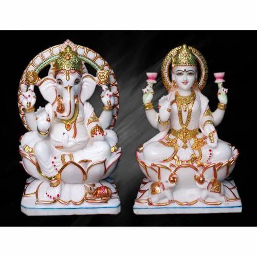 Ganesh Laxmi Statue White Marble Ganesh Laxmi Statue