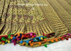 Bagru Block Printed Cotton Saree with Pompom Lace
