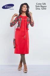 Designer Crete silk  Kurti