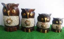 Wooden Owl With Stone Work