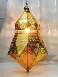 Gold Plated Hanging Moroccan Lamp