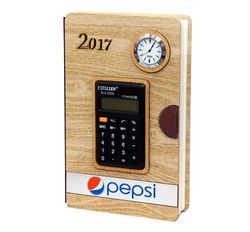 Calculator And Clock Wooden Diary