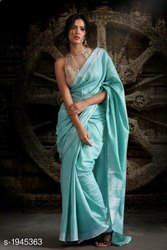5 Colour Printed Charvi Solid Cotton Sarees with Tassels and Latkans, 6 m