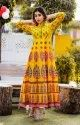 Yellow Printed Long Anarkali Kurti