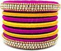 Pilk And Golden Silk Thread Bangles Set