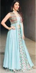 Reyon Party Wear Rayon Three Peace Long Kurti Embroidered Gown