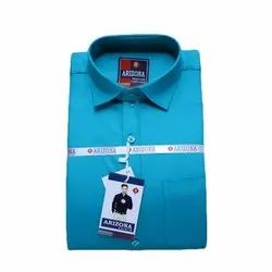 Plain Blue Mens Cotton Slim Fit Shirt
