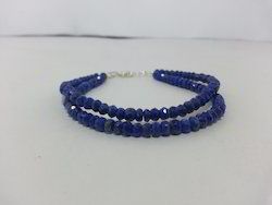 Natural Lapis Lazuli Faceted Beads Bracelet with Sterling Silver