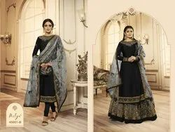 Georgette Embroidered Ladies Party Wear Dress