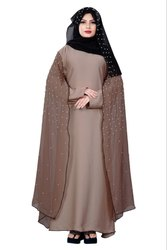 Women's Nida And Chiffon Abaya Burka with Pearl Work and Hijab Scarf