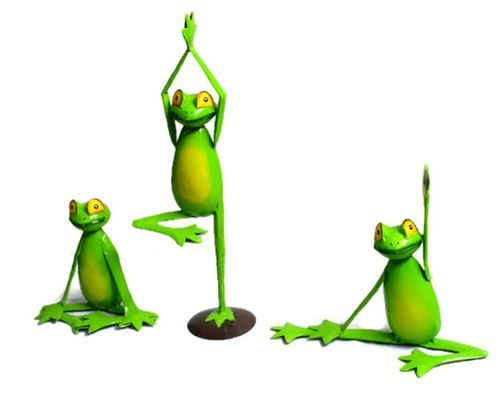 Set Of 3 Yoga Frog Home Decor Garden Statue Hand Crafted Iron Sculpture