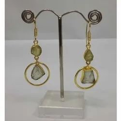 Fancy Green Amethyst Gemstone Silver Earring