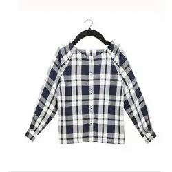 100% Cotton Casual Wear Kids Girls Check Shirt, Packaging Type: Packet