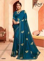Designer Fancy Vihitra Silk Diamond Work Saree