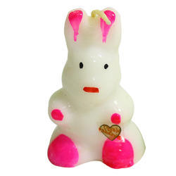 White And Pink Rabbit Birthday Candle