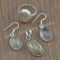 Sterling Silver Handmade Jewelry Golden Rutile Gemstone Set