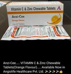 Anzi-Cee Vitamin C & Zinc Chewable 10x10 Orange Flavour Tablets