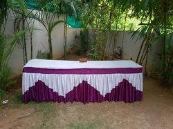 Purple & White Modern Latest Wedding Table Counter Cover