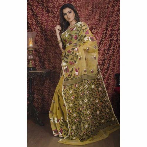 d0a153d12ed Pure Handloom Muslin Jamdani Saree In Beige And Black