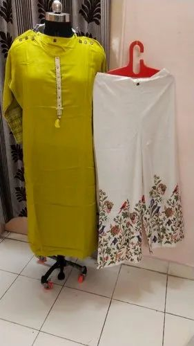 RAYON Party Wear kurtis with plazo, Machine wash
