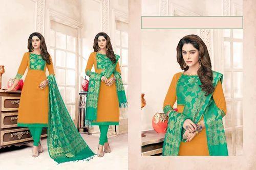 4e9c188c2a Cotton And Jacquard Printed Banarasi Dress Material, Rs 795 /piece ...