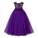 Purple Party Wear Kids Girls Gowns
