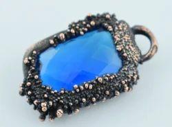 Blue Topaz Hydro Copper Electroformed Pendant