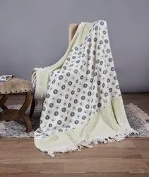 Jaipuri White & Green  Block Printed 100% Cotton Throws