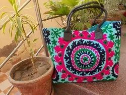 Multicolor Canvas Handmade Embroidered Ladies Bags