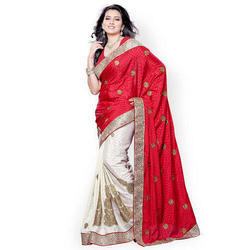 Party Wear Ladies Embroidered Saree, 5.5 M (separate Blouse Piece)