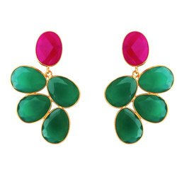 Green Onyx & Fuchsia Chalcedony Big Earrings