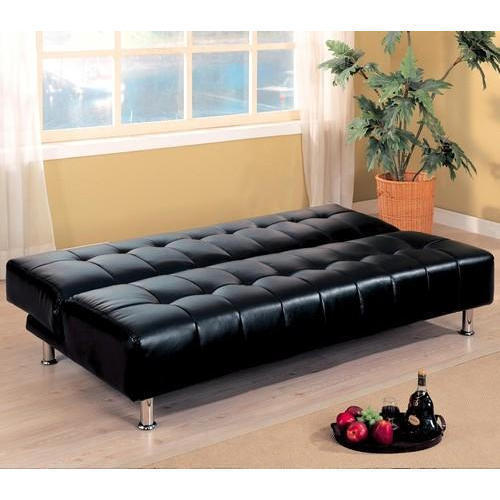 Black Synthetic Leather Convertible Sofa Bed