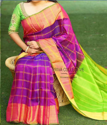 Voilet And Apple Green Silk Violet With Apple Green Uppada Checks With Jari Border Up582, 6.3 M (with Blouse Piece)