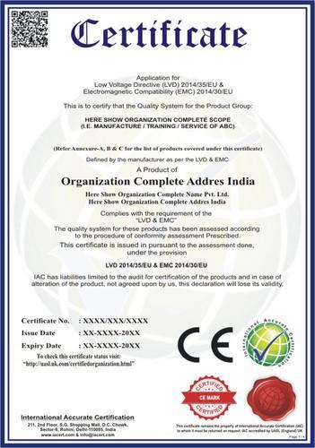 Ce Mark Certificate, Documentation And Consultancy