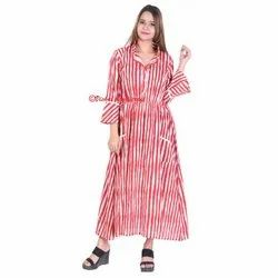 Women's Long Gown Cotton Fabric Dress