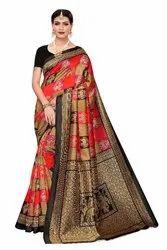 Kalamkari Art Silk Printed Saree with Blouse