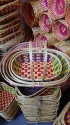 Pink Bamboo Oval Gift Hamper Basket